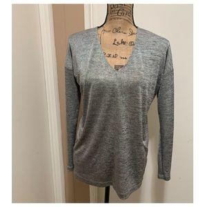 Club Monaco Knit Blouse Silver Gray Shimmering XS